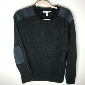 AUTUMN CASHMERE Leather Elbow Patch Sweater Sz XL